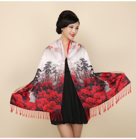 Палантин шарф шелковый natural китайская живопись