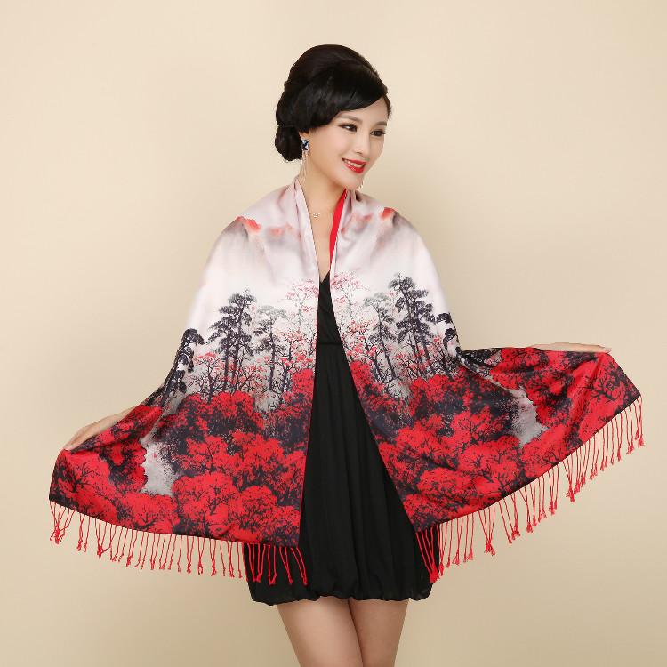Палантин шарф шовковий natural китайський живопис