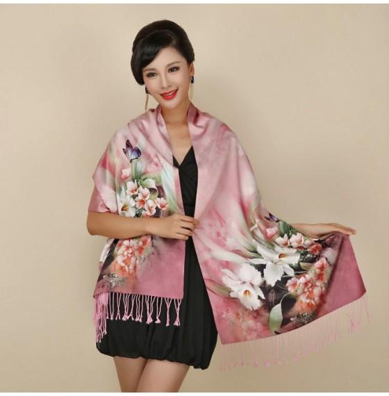 Палантин шарф шелк розовый