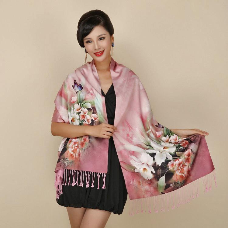 Палантин шарф шовк рожевий