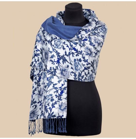 Жіночий палантин шовковий синій