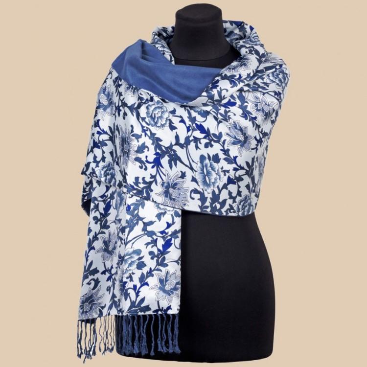 Жіночий шарф палантин шовковий natural синій