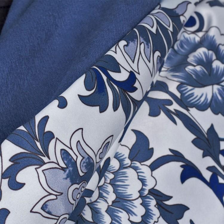 Женский палантин шелковый синий