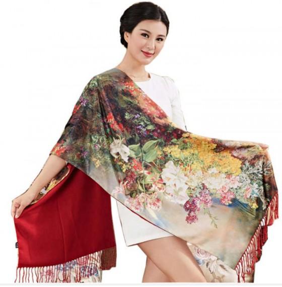 Палантин шарф шелковый natural цветочный сад