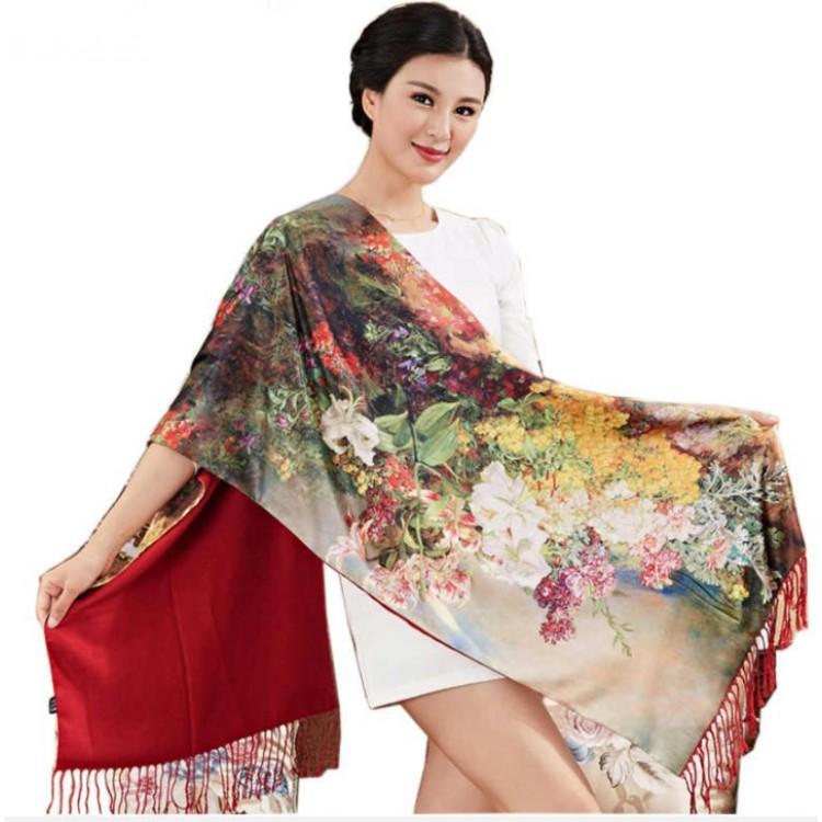 Палантин шарф шовковий natural з квітами
