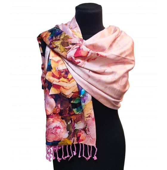 Женский палантин шарф шелковый natural розовый