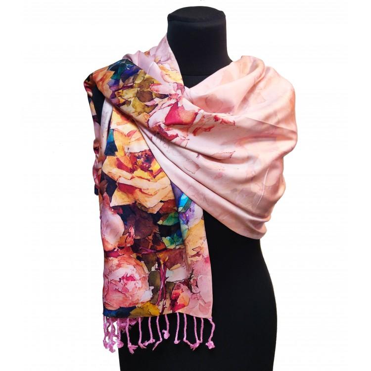 Женский палантин шелковый розовый