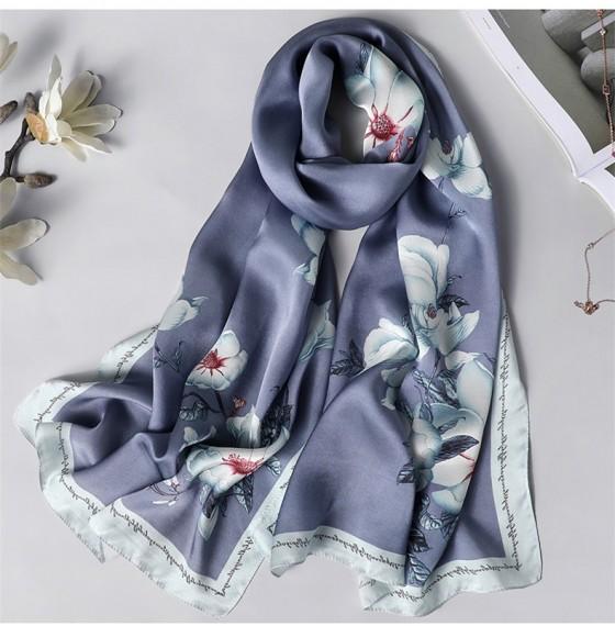 Шовковий шарф натуральний сірий з блакитним