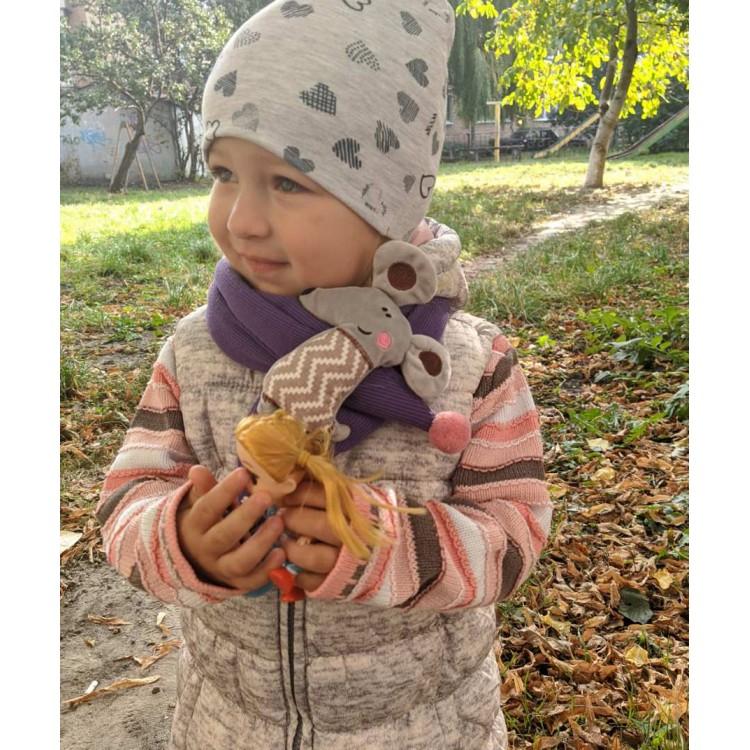 Детский шарф мышонок сиреневый