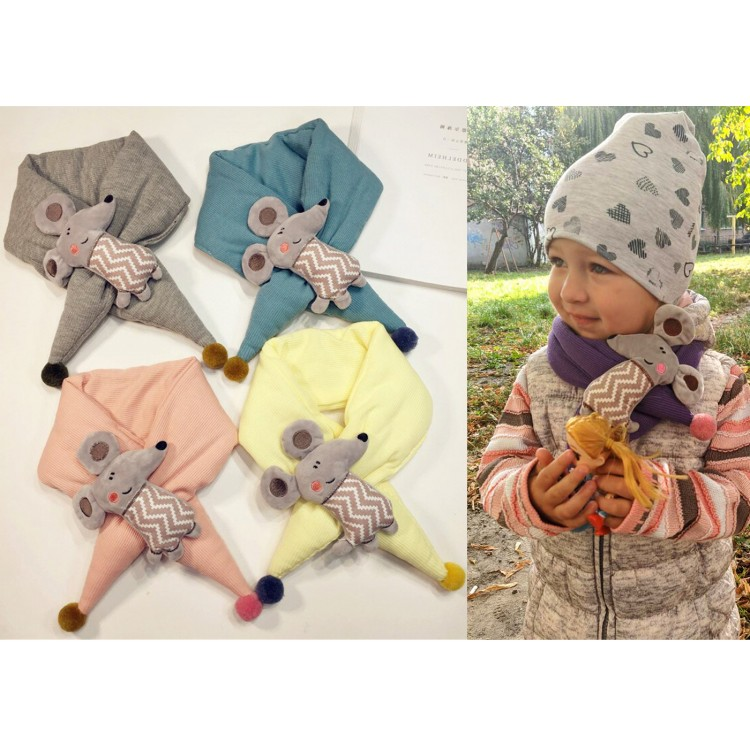 Детский шарф мышонок бирюзовый