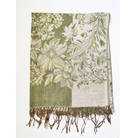 Шарф палантин з квітами зелений