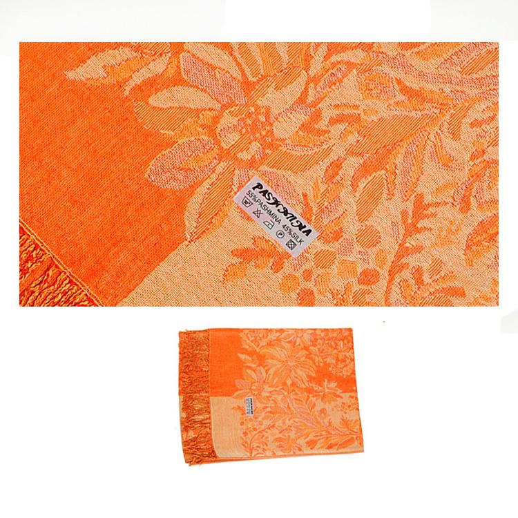 Шарф палантин с цветами оранжевый
