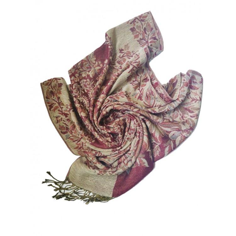 Шарф палантин с цветами терракотовый