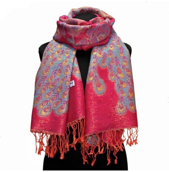 Палантин-шарф шерстяной люрексовый peacock pink