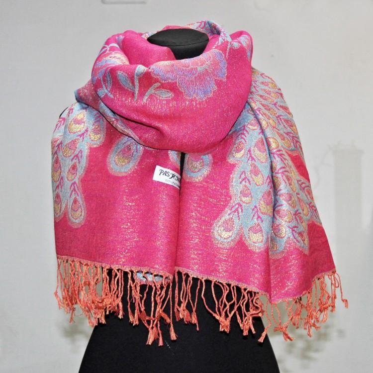 Палантин павлин pink