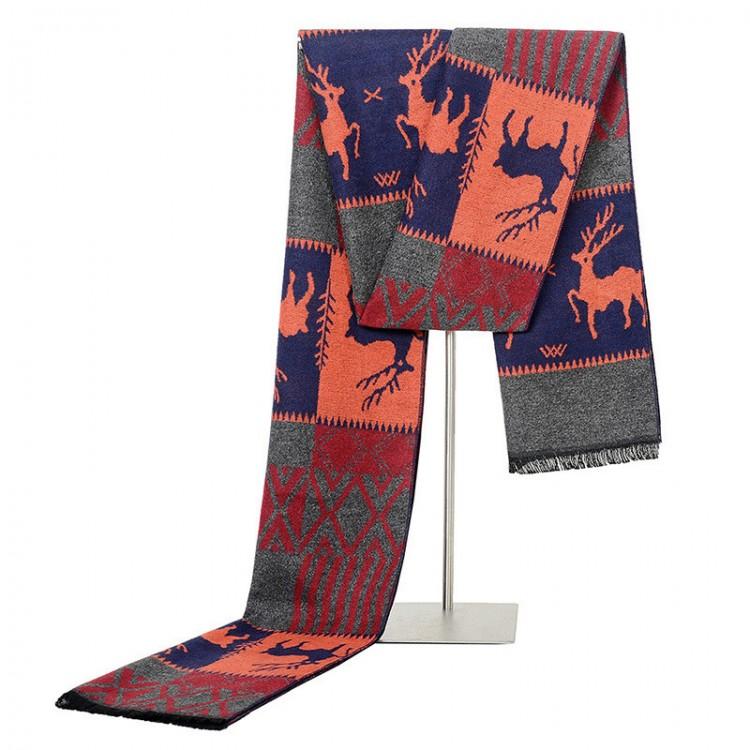 Чоловічий шарф кашеміровий з оленями