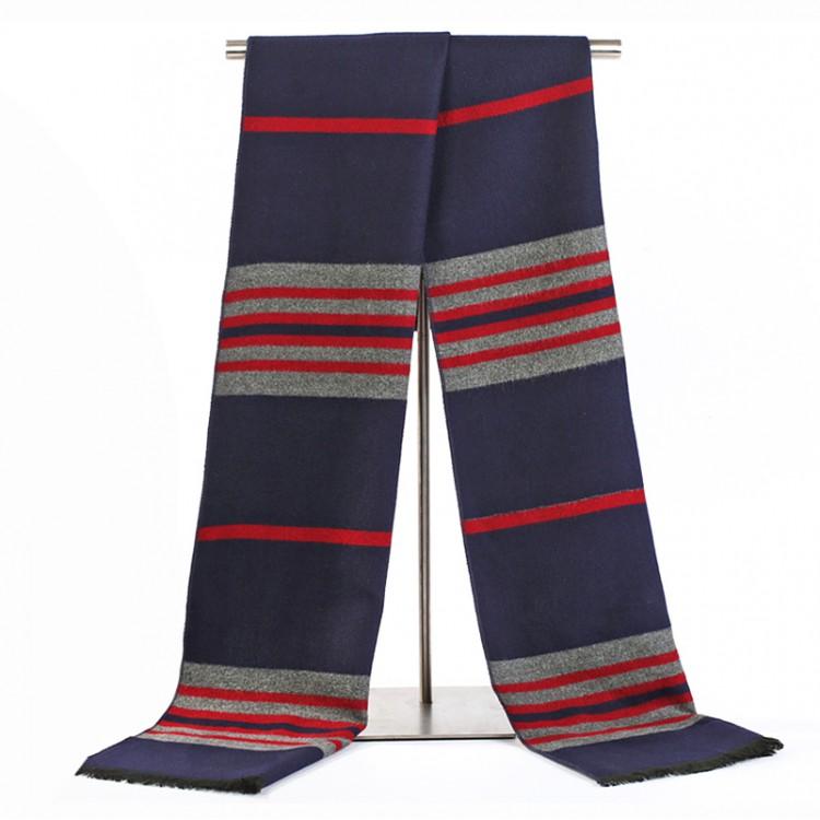 Мужской шарф синий в полоску