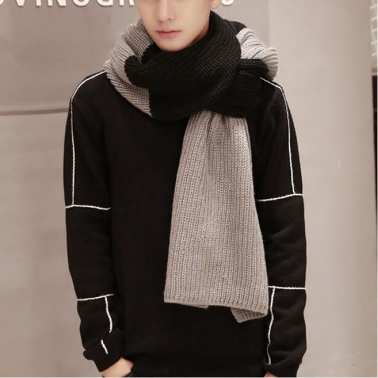 Вязаный шарф серо-черный