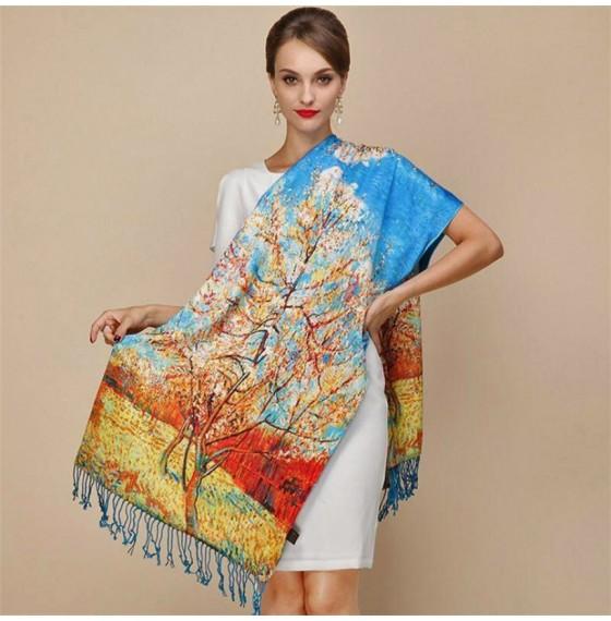 Палантин шарф шелковый natural Персиковое дерево