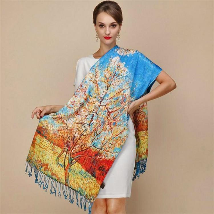Палантин шарф шовковий natural Персиковое дерево