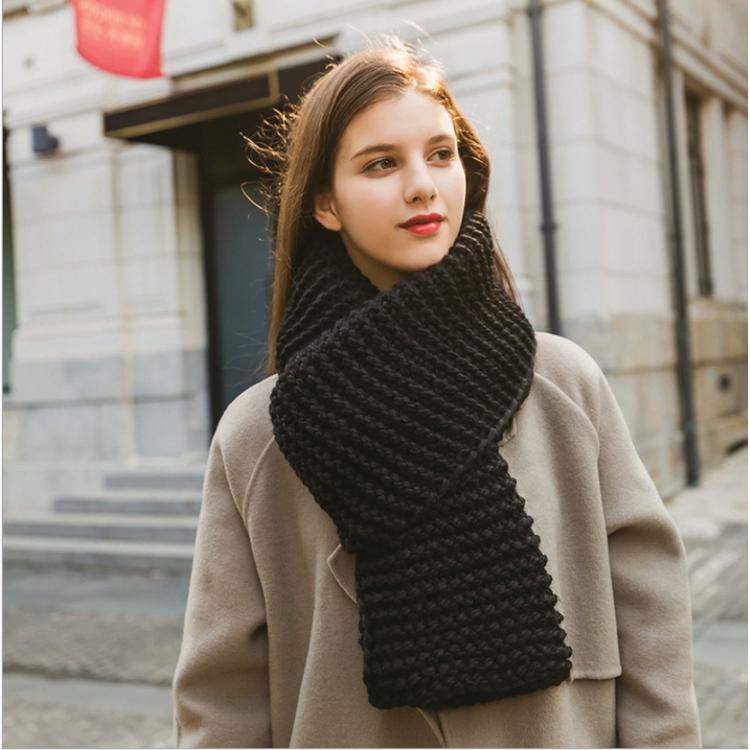 Жіночий шарф вовняний чорний велика в'язка