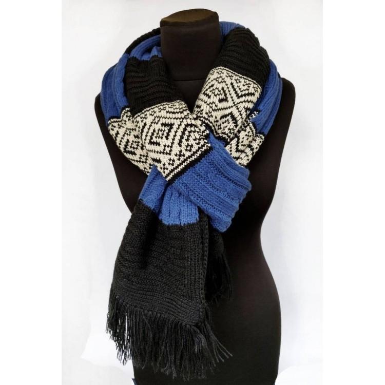В'язаний шарф синій довгий