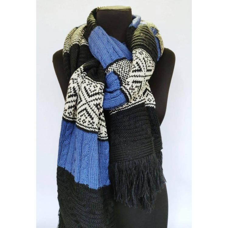 Вязаный шарф синий длинный