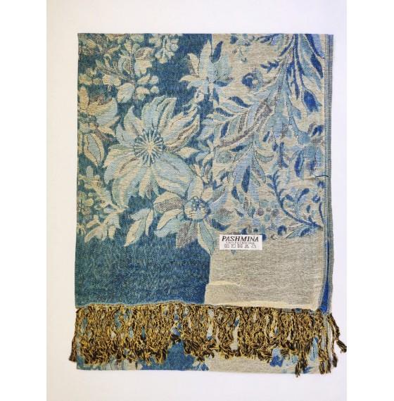 Шарф палантин с цветами синий