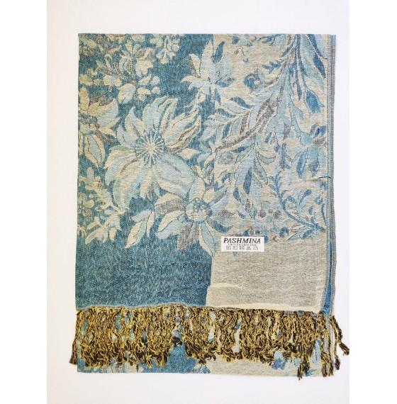 Шарф палантин с цветами голубой