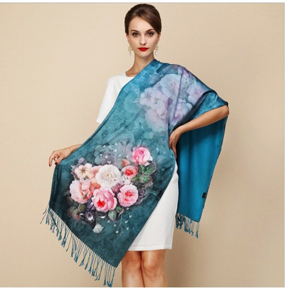 Палантин шарф атласный natural изумрудный