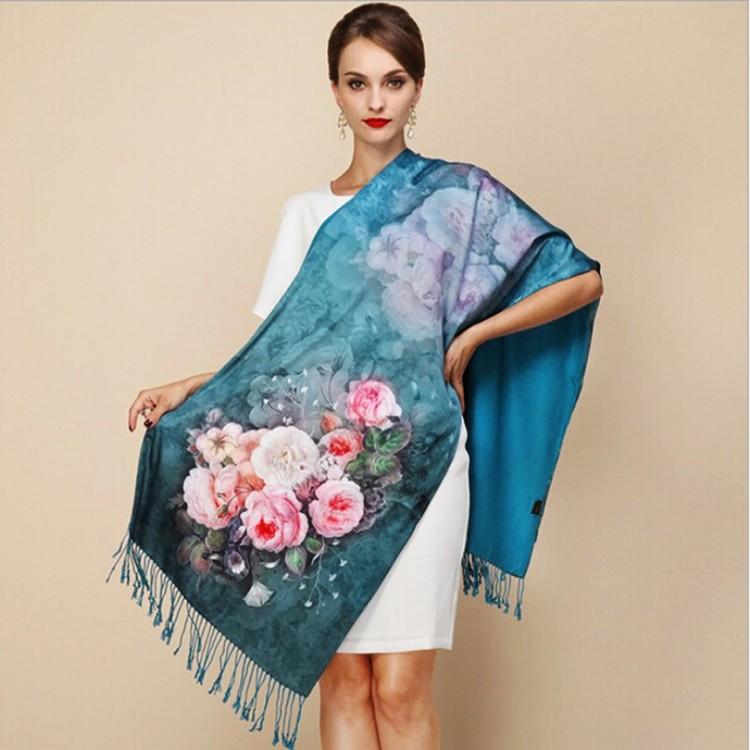 Палантин шарф атласний natural смарагдовий