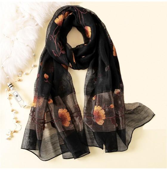 Шарф чорний wool&silk