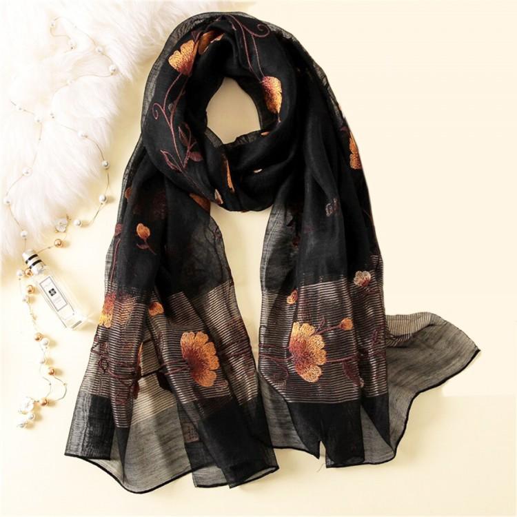 Жіночий шарф шифоновий чорний wool & silk